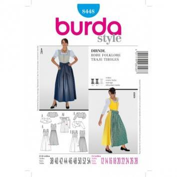 Patron Burda 8448 déguisement : Robe de folklore T 38 à 54