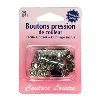 Kit de base boutons pression couleur noir x6