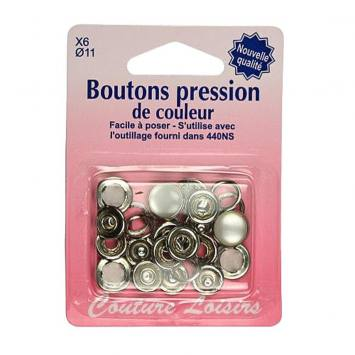 Recharge boutons pression couleur perle X6