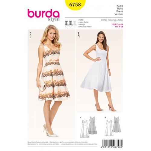 Patron N°6758 Burda style : Robe Taille : 34-44