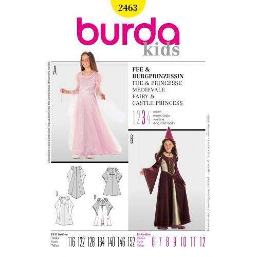 Patron N°2463 Burda Carnaval : Fée et princesse Taille : 116cm - 152cm