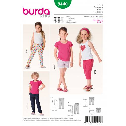 Patron N°9440 Burda Kids : Pantalon, pantacourt, short fillette Taille : 92cm - 122cm