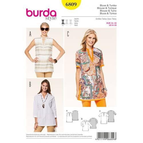 Patron N°6809 Burda Style : Blouse et tunique Taille : 34-46