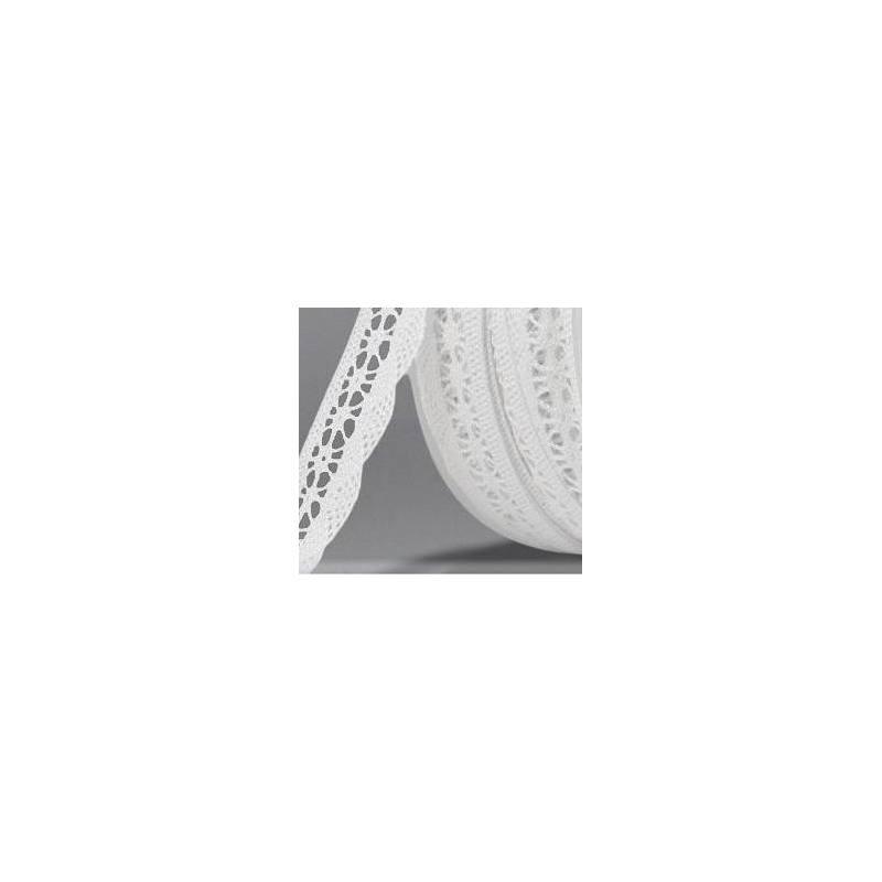 Ruban de dentelle coton blanc 20mm