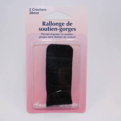 Rallonge de soutien-gorge noire 28mm