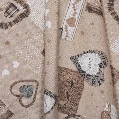 Coton enduit motifs cœurs beiges