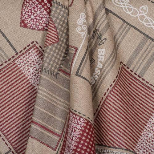 Coton enduit motifs carreaux et cœurs rouges
