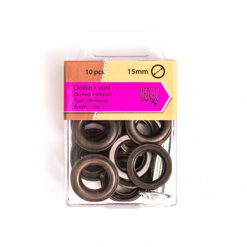 Oeillets 15 mm avec outillage bronze X10