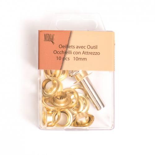 Oeillets 10 mm avec outillage doré X10