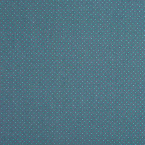 Coton gris foncé à petit pois 1mm turquoises