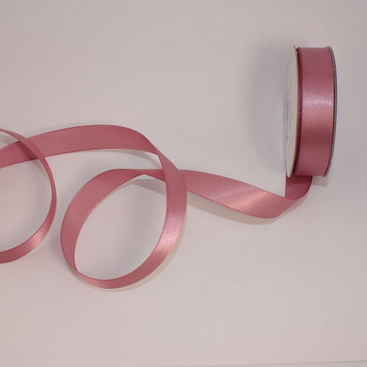 Ruban satin en bobine rose balais 13 mm