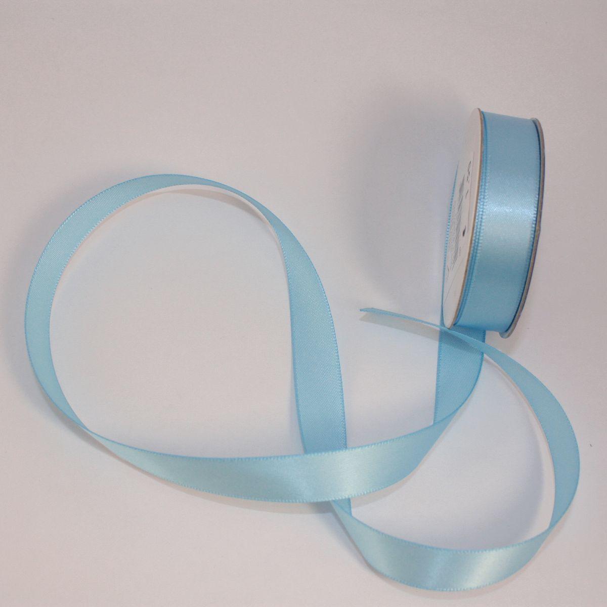 Ruban satin en bobine bleu ciel 13 mm