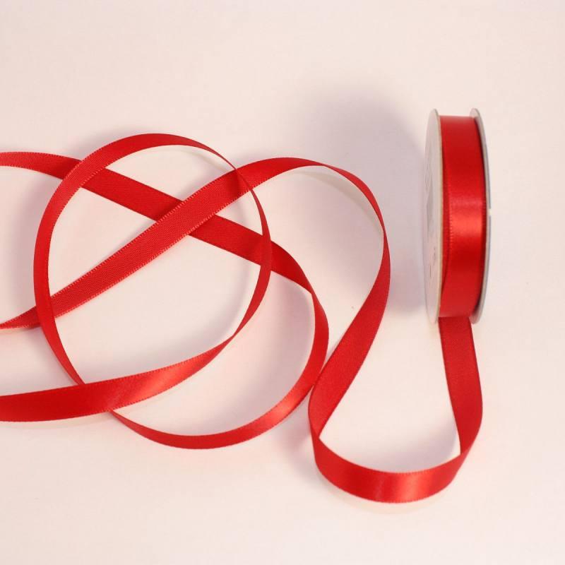 Ruban satin en bobine rouge 9 mm