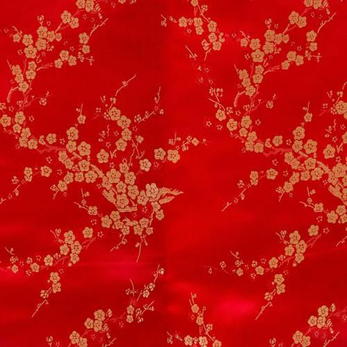 Satin asiatique rouge à petites fleurs