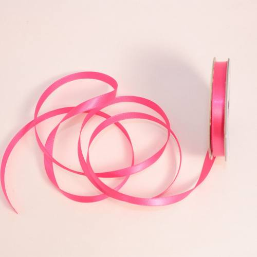 Ruban satin en bobine rose foncé 6 mm