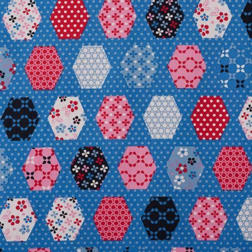 Coton bleu motif patchwork hexagonale