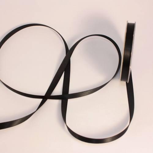 Ruban satin en bobine noir 6 mm