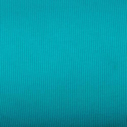 Tissu tubulaire bord-côte maille bleu turquoise