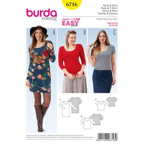 Patron Burda 6716 : Robe et tee-shirt 42-52