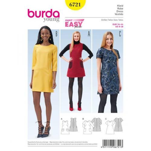 Patron Burda 6721 : Robe 34-44