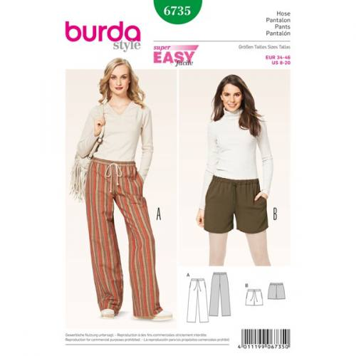 Patron Burda 6735 : Pantalon et short 34-46