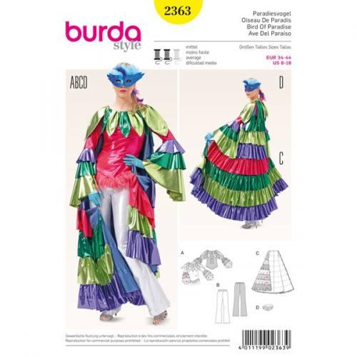 Patron Burda 2363 Carnaval : Oiseau de paradis Taille: 34-44