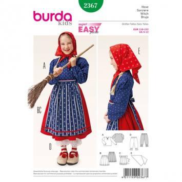 Patron Burda 2367 Carnaval : Sorcière enfant Taille: 110-152 cm