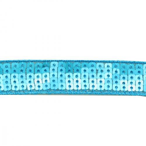Galon paillettes carrées bleu turquoise