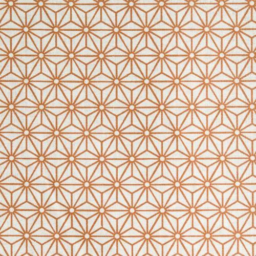 Coton blanc motif asanoha cuivre