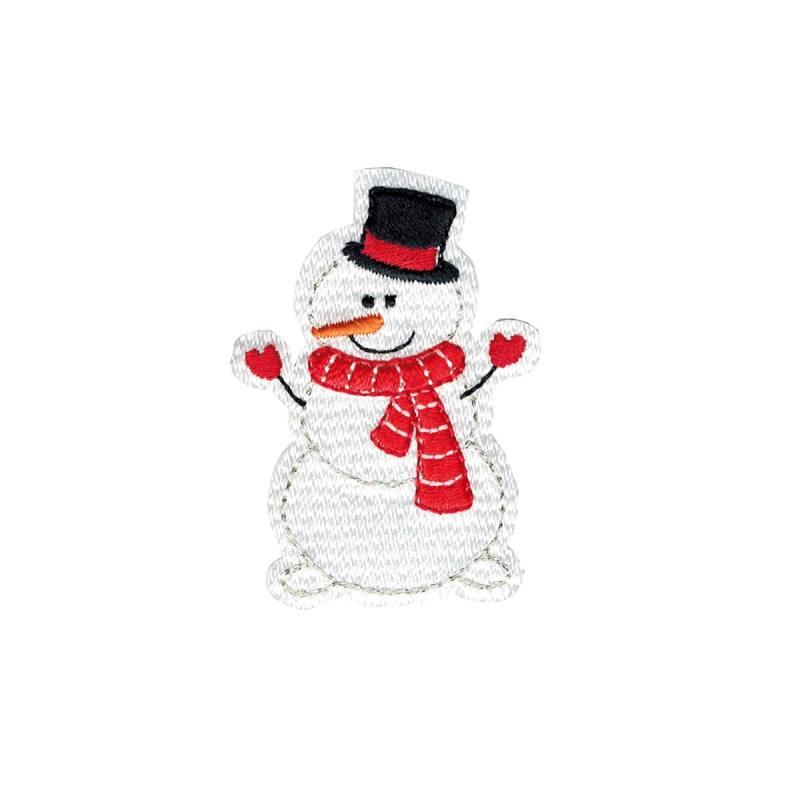 Ecusson bonhomme de neige thermocollant noel cussons en ligne mercerie pas cher - Bonhomme de neige en laine ...