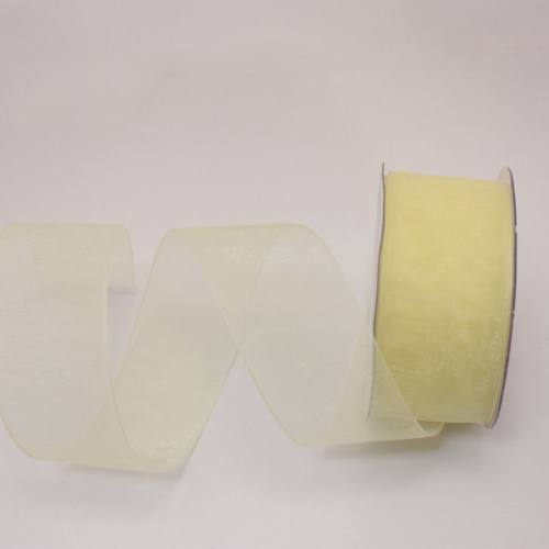 Ruban organdi en bobine jaune citron 25 mm