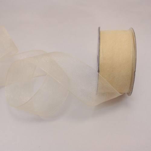 Ruban organdi en bobine crème 25 mm
