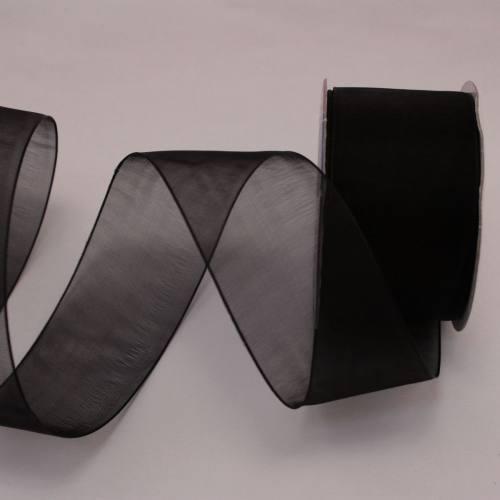 Ruban organdi en bobine noir 32 mm