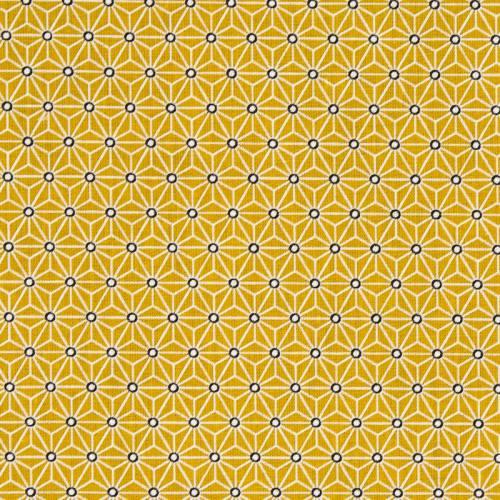 Coton ocre petit motif asanoha