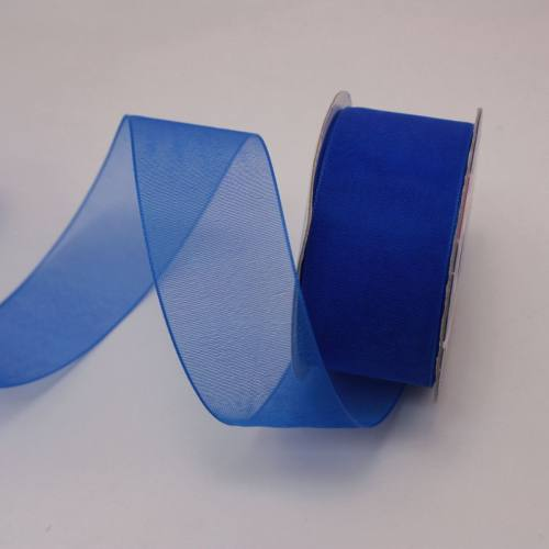 Ruban organdi en bobine bleu 25 mm
