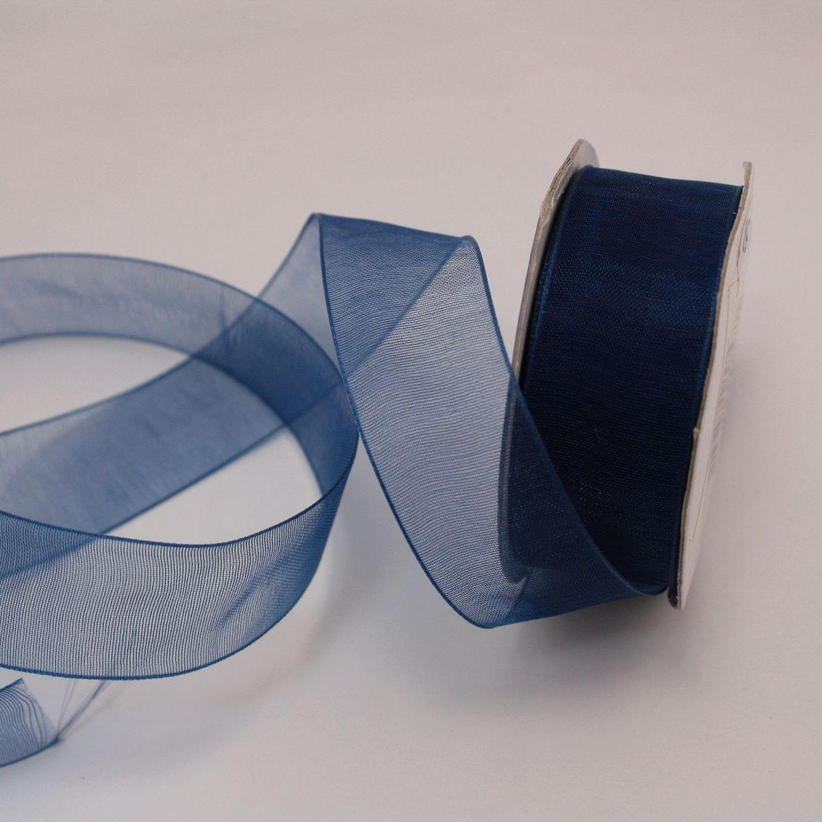 Ruban organdi en bobine bleu marine 20 mm