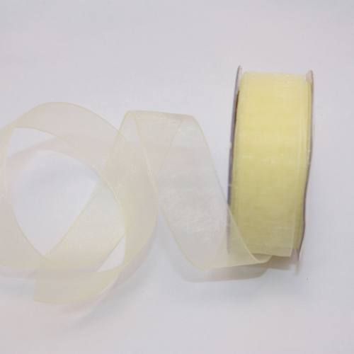 Ruban organdi en bobine jaune citron 20 mm