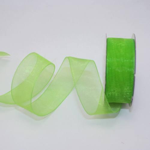 Ruban organdi en bobine vert pomme 20 mm