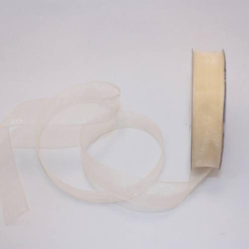 Ruban organdi en bobine crème 12 mm