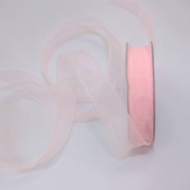Ruban organdi en bobine vieux rose 12 mm