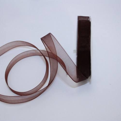 Ruban organdi en bobine marron foncé 9 mm