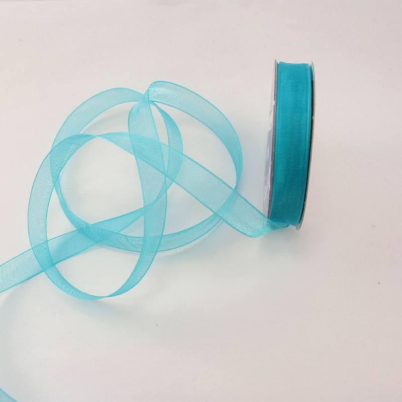 Ruban organdi en bobine bleu azur 9 mm