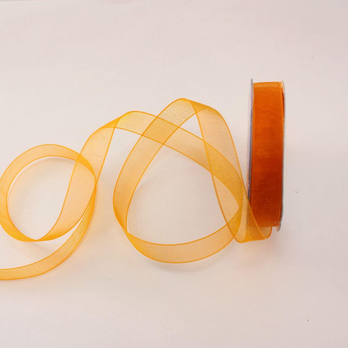 Ruban organdi en bobine abricot 9 mm