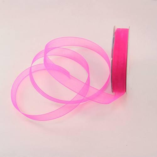 Ruban organdi en bobine rose foncé 9 mm