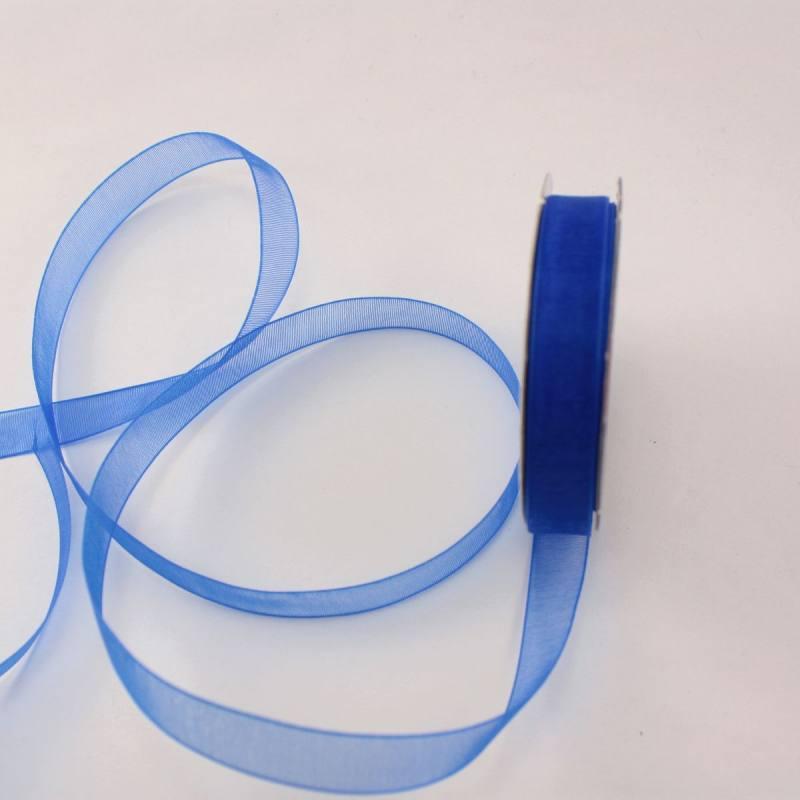 Ruban organdi en bobine bleu 9 mm