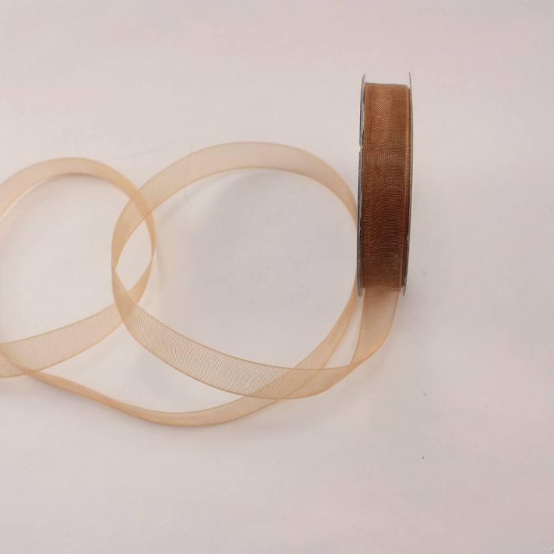 Ruban organdi en bobine marron 9 mm