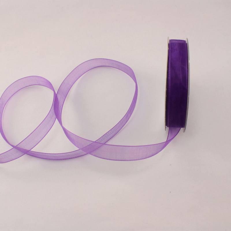 Ruban organdi en bobine violet 9 mm