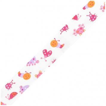 Biais replié enfant 25 mm - animaux rose
