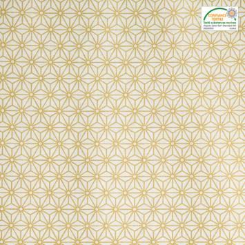 Coton enduit blanc motif asanoha doré