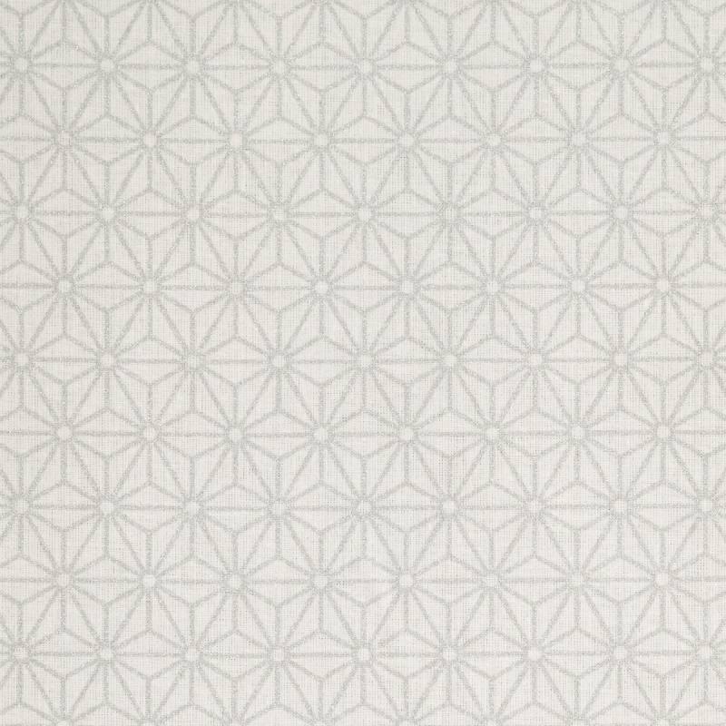Coton enduit blanc motif asanoha argenté